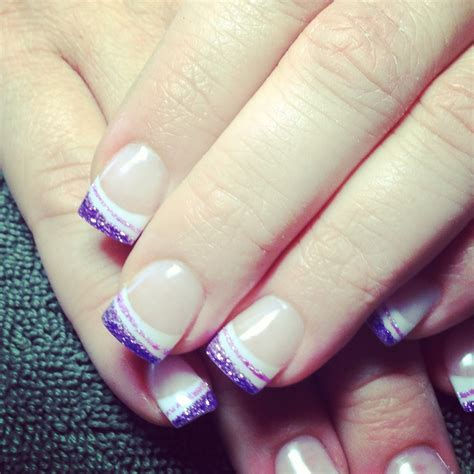 fb hanna anisa french tips with purple glitter style nail art