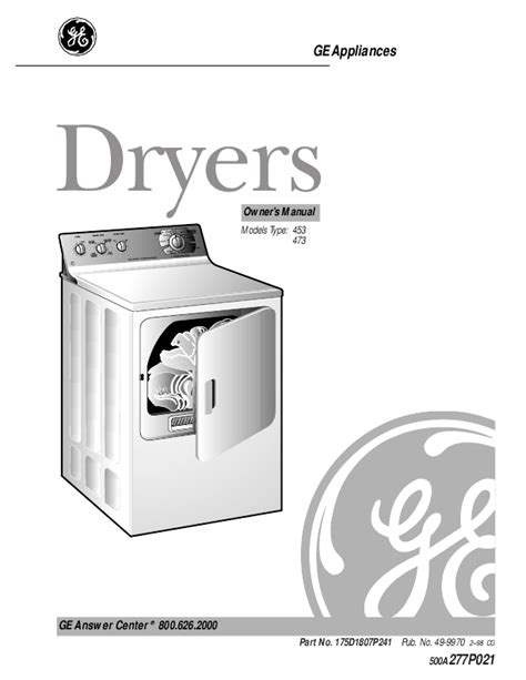 Hair Dryer Owners Manual ge dryer owner s manual connectfiles