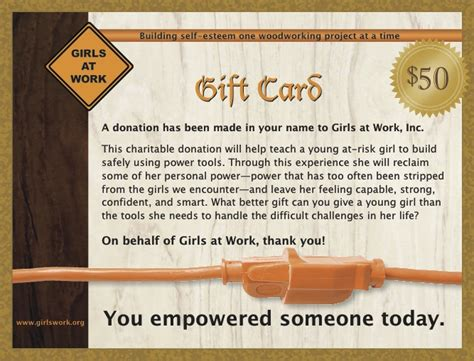 Donate Gift Cards - gift cards girls at work inc
