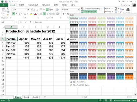 layout excel definition format tables from the ribbon in excel 2013 dummies