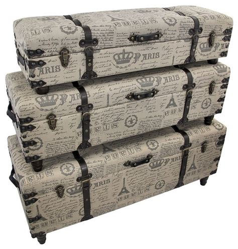 fabric covered storage bench paris themed burlap covered bench trunks contemporary