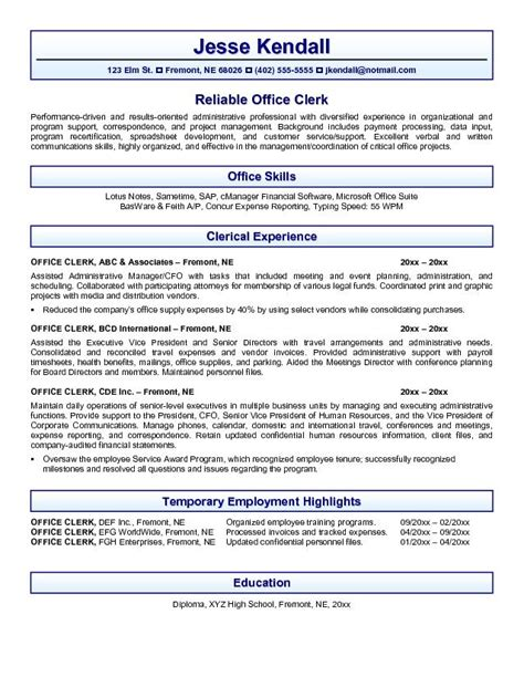 exle office clerk resume free sle