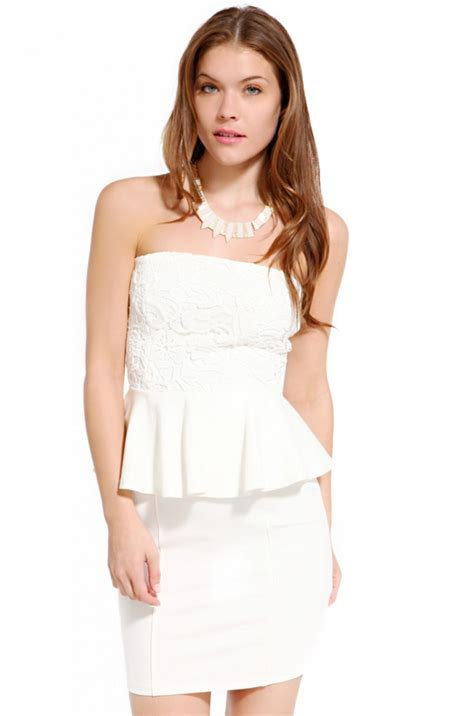 Bust Lace black label lace bust strapless peplum dress in ivory in white ivory lyst