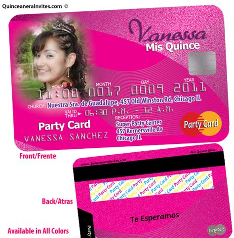 Credit Card Birthday Invitation Template Unique Quince Invitation