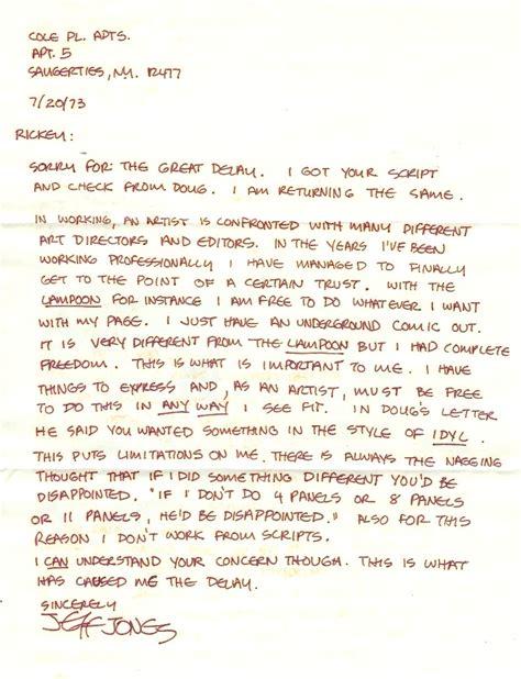 handwritten cover letter ephemera jones ragged claws network