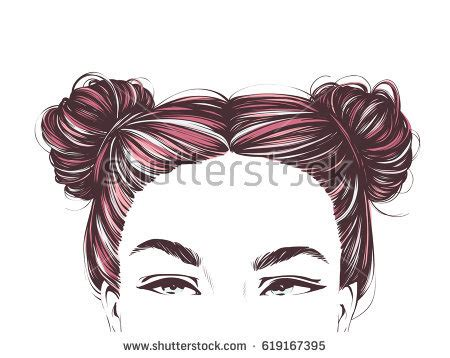cute hairstyles vector hair bun stock images royalty free images vectors