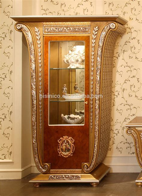 fancy glass display cabinet luxury baroque style golden four door glass display