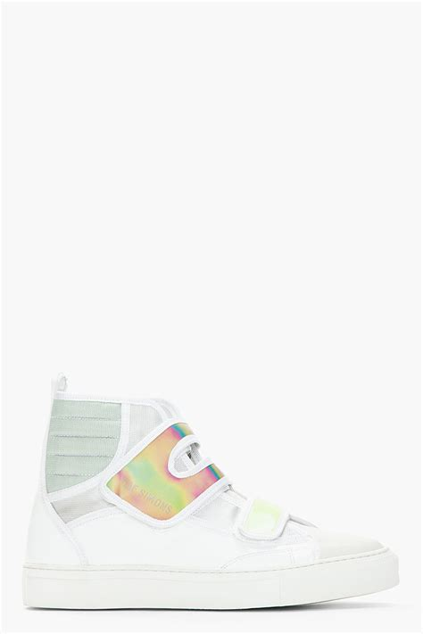 raf simons holographic space sneakers raf simons white green holographic velcro high top