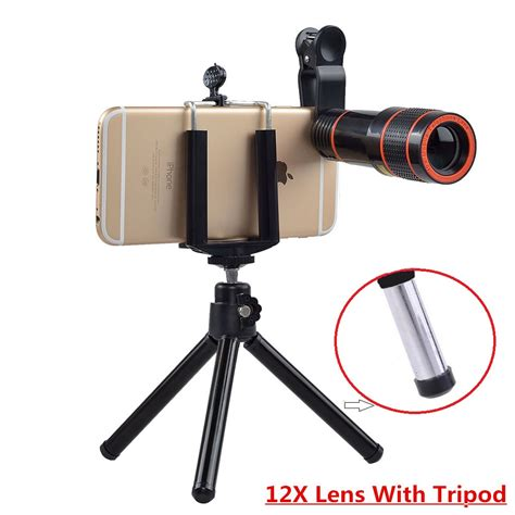 universal 12x zoom mobile phone lens for iphone 7 plus 6 andriod ios smartphones clip on