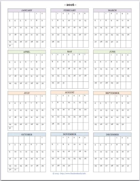 free printable yearly calendar with boxes free printable quot year at a glance quot calendar for 2016 you