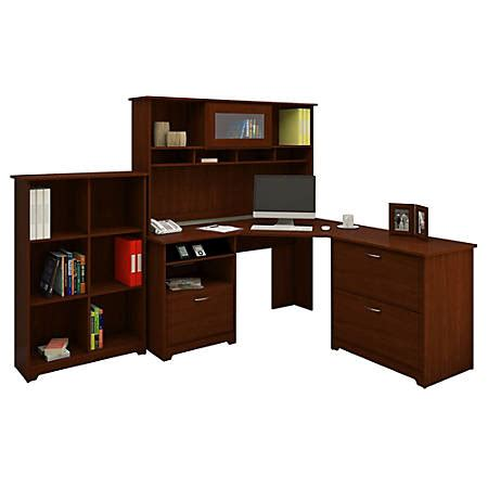 bush cabot corner desk bush furniture cabot corner desk and hutch with lateral