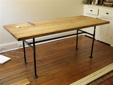 Diy Table Desk by Marybicycles 3 4 View Color Salvaged Butcher Block Table