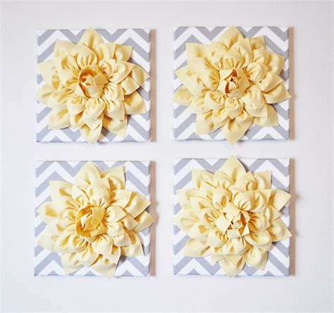 yellow decor wall decor set of four light yellow dahlias on gray and white