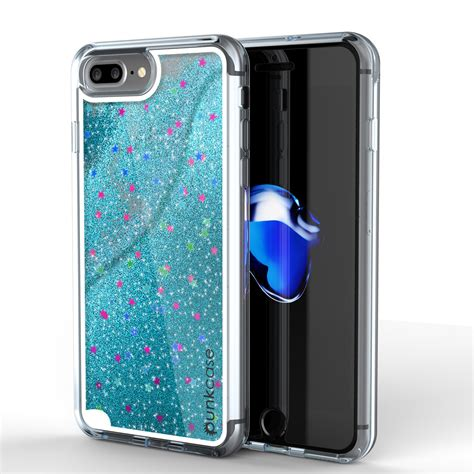iphone 7 plus punkcase liquid silver series protective dual layer floating glitter