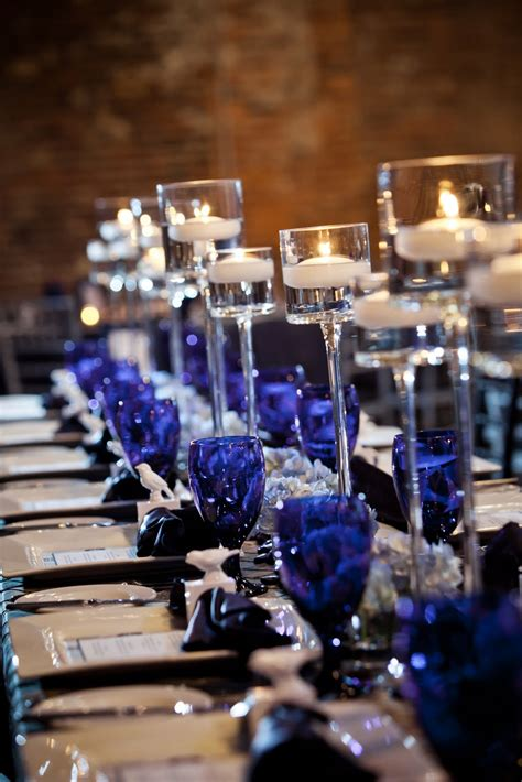 black blue and silver table settings bold by design