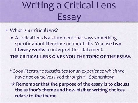 Exle Critical Lens Essay by Writing A Critical Lens Essay Powerpoint Writing Lab Www Alabrisa
