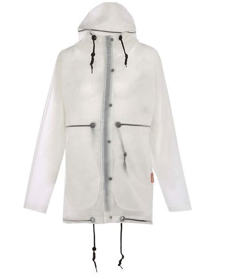 White Smock Jacket lyst white clear hooded vinyl smock jacket in white