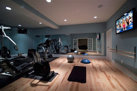 home basement gymnasium and studio modern home