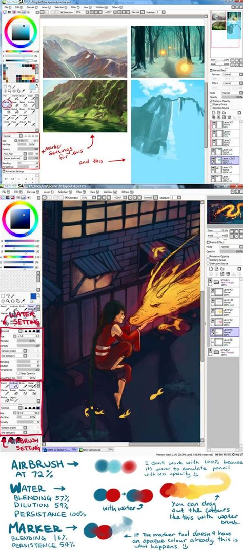 paint tool sai mask tutorial sai brush settings and their exles by qinni on