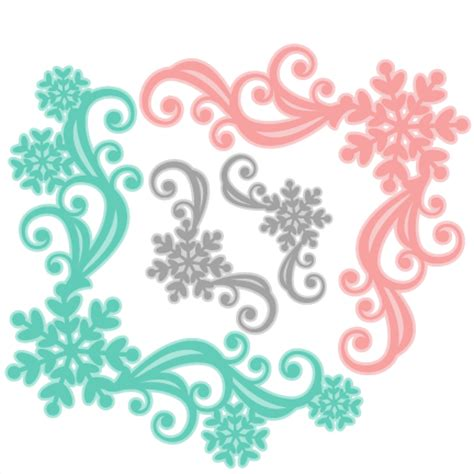 snowflake flourish set svg scrapbook cut file cute clipart