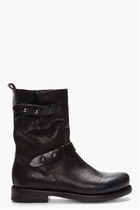 black leather moto boots rag bone black leather moto boots in black lyst