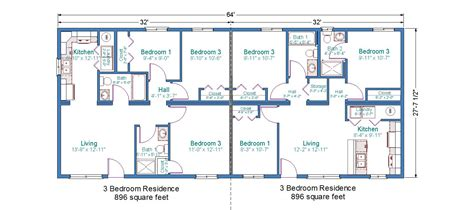 Floor Plans For Duplexes 3 Bedroom by Modular Duplex Tlc Modular Homes
