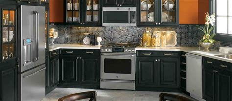 Black And White Kitchen Cabinet Designs by Dark Gray Kitchen Cabinets With Black Appliances