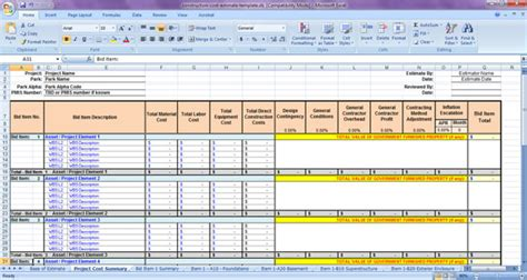 Construction Cost Estimate Template Construction Cost Estimate Sheet Bid Analysis Template Excel