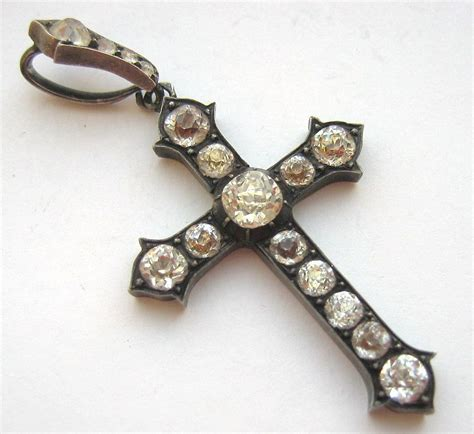 large antique silver paste cross pendant from