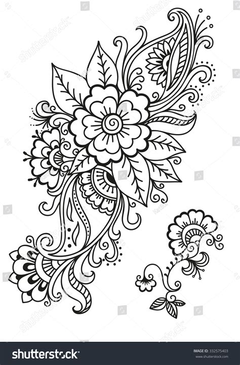 henna design templates henna flower template mehndi stock vector