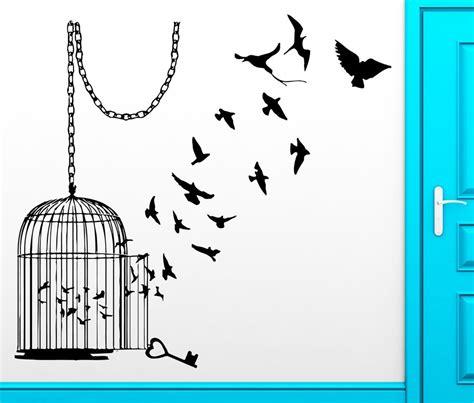 Bird Cage Home Decor wall sticker birds escape cage freedom bird cool decor for