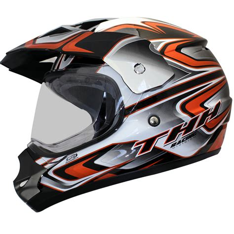 orange motocross helmet thh tx 13 3 black orange dual sport helmet adventure atv