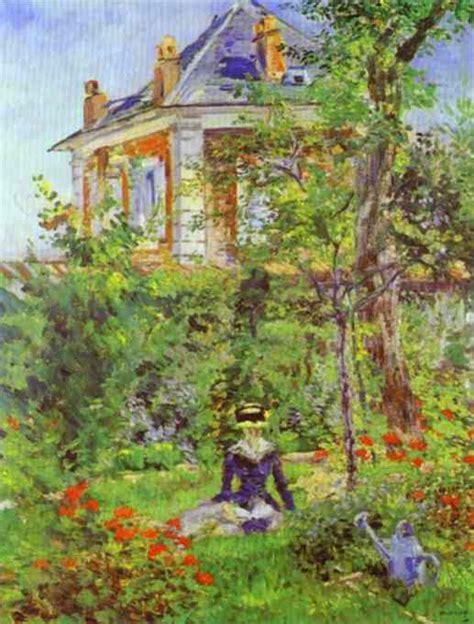 nel giardino di ragazza nel giardino di bellevue olio di edouard manet