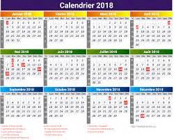 calendrier 2018 avec jours f 233 ri 233 s free