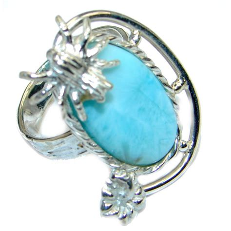larimar pearl sterling silver handmade ring size 6 6 30g