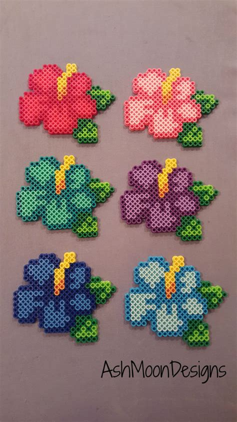 perler bead flower perler bead hibiscus flowers by ashmoondesigns on etsy