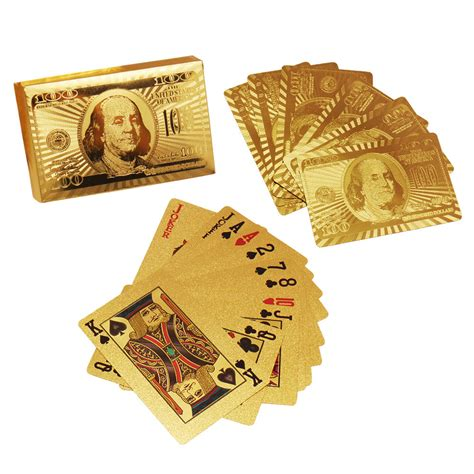 Plated Gift Card - 24k gold plated dollar playing cards full poker deck ebay