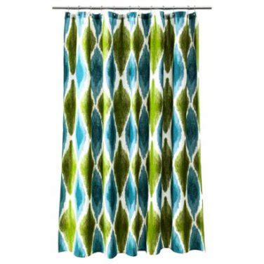 blue ikat shower curtain threshold large ikat print cool blue teal green fabric