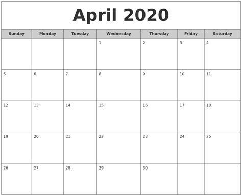 april monthly calendar
