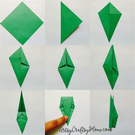 Origami K - easy origami tulip craft for artsy craftsy