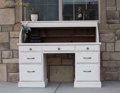 White Roll Top Desk With Dark Interior Paint It Pinterest White Roll Top Desk