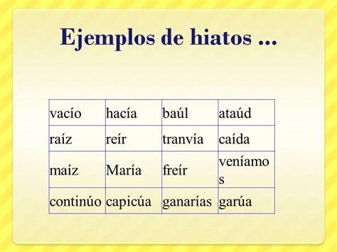 ejemplo de diptongos ejemplos de hiatos