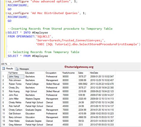 How To Insert Stored Procedure Result Into Temporary