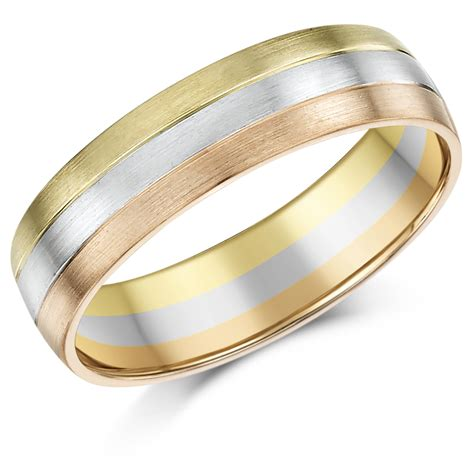 6mm 9ct gold 3 colour court shape wedding ring band 9ct