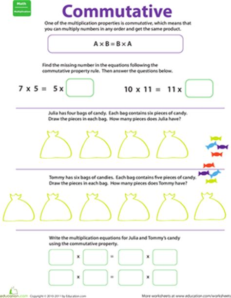 properties of multiplication: commutative | worksheet
