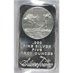 1 Ounce Silver Bar Size by Five Troy Ounce 999 Silver Bar Silvertowne Great Gift