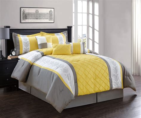 7 piece yellow gray white comforter set ebay