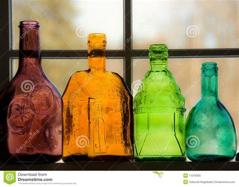 colored tims colored bottles stock image image of window catchers