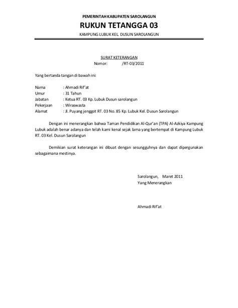 contoh surat pengantar sku dari rt contoh surat