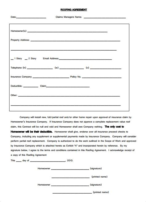roofing contract template 7 roofing contract templates free pdf format